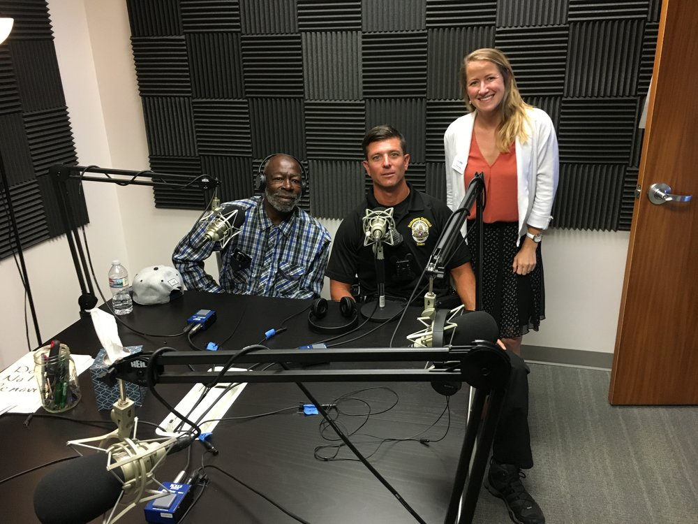From left to right: Formerly homeless Oceanside resident Jerry; Josh Ferry with Oceanside HOT; guest host Fiona King with Interfaith Community Services