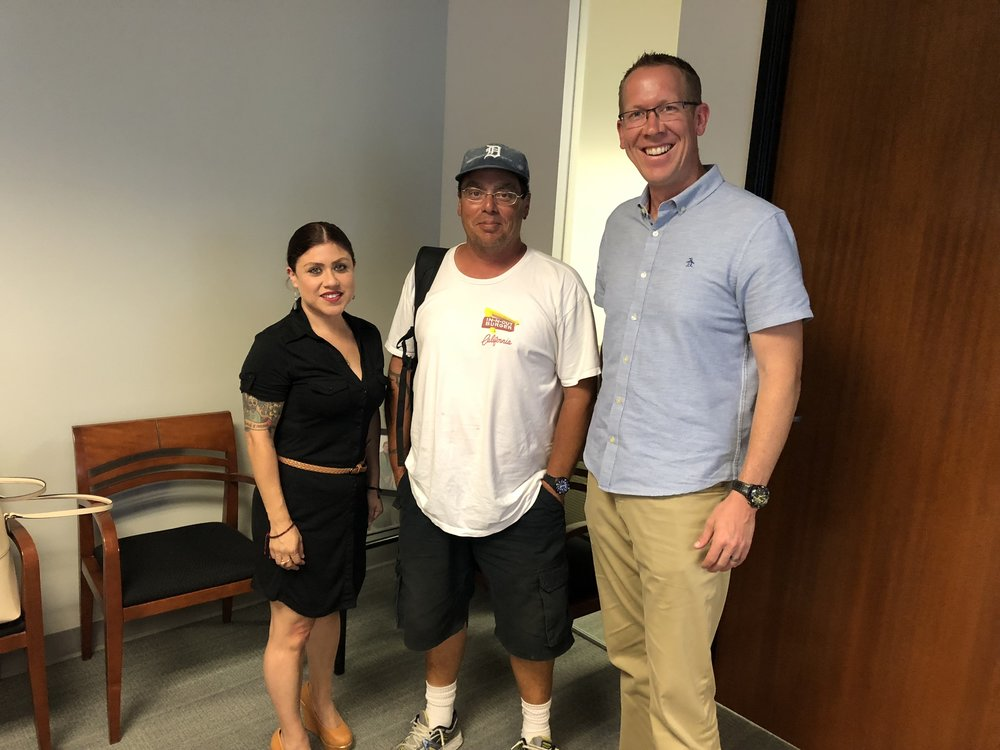 From left to right: Anne Rios, Executive Director and Managing Attorney at Think Dignity; episode guest, David; and Greg Anglea, CEO at Interfaith Community Services