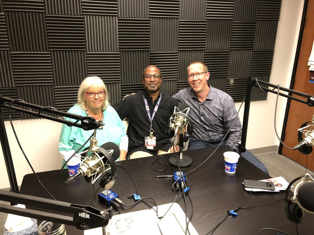 From left to right: Laura, Bernie, and Greg sit down in the 'Homeless in San Diego' studio