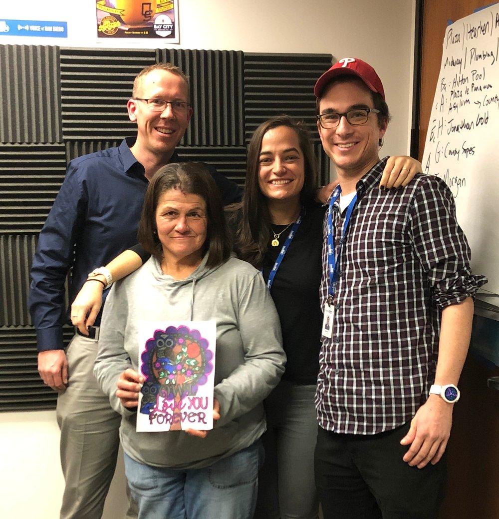 Greg, Shawn, Anna, and Daniel in the podcast studio.