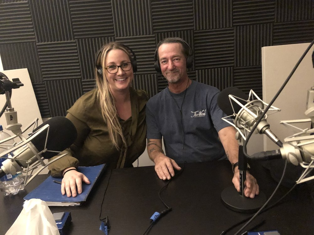 Holly and Tom in the podcast studio.