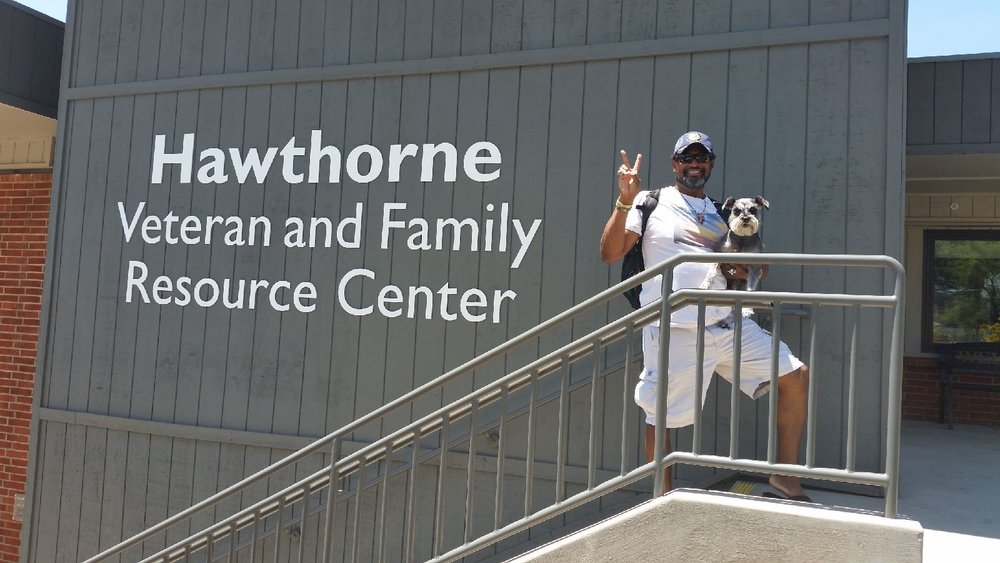 Tracy and Max at Interfaith's  Hawthorne Veteran and Family Resource Center