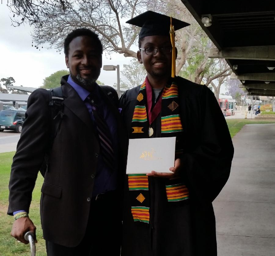 Tracy with his son, Caleb at his graduation.