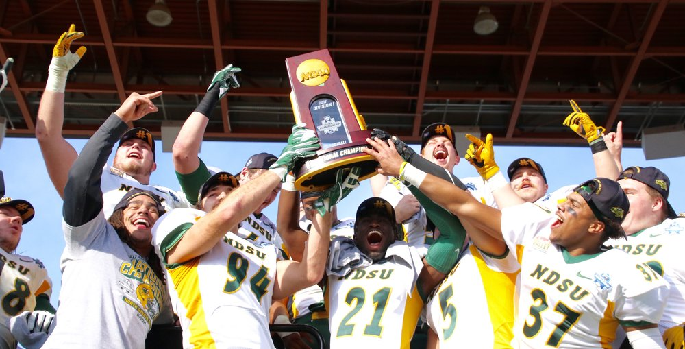 North Dakota State defeated James Madison on January 6, 2018 in the National Championship to claim their record-tying 6th FCS Title, all of which have come in the last 7 years (Photo:    Kate Pearson Halyburton   )