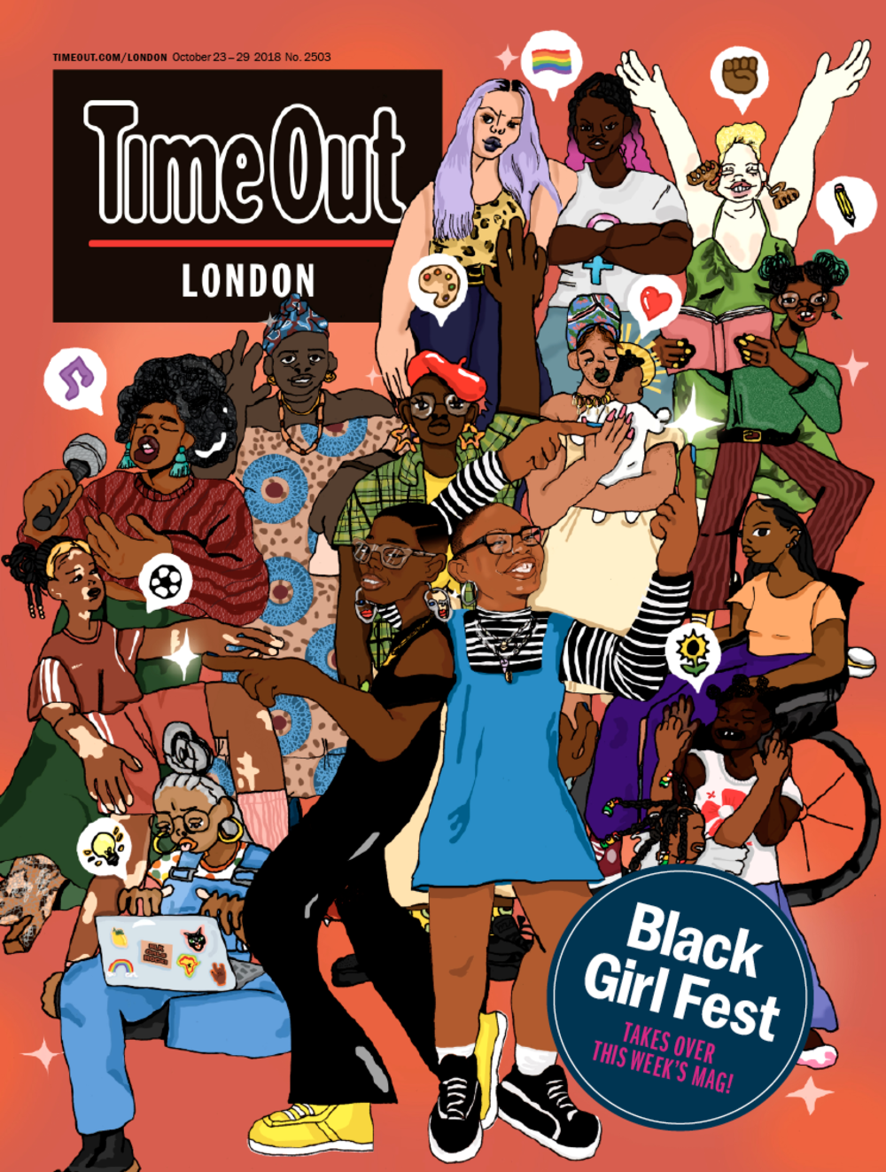 Black Girl Festival Time Out takeover - The UK's first arts and culture festival celebrating Black British women and girls took over Time Out London on 23rd October 2018.This takeover issue was filled with inspiring chats between trailblazing women from different generations, a guide to the thriving Black queer scene and Black Girl Fest picks in every section.Thank our contributors Niellah Arboine, Tanya Compas, Krystal Neuvill and Christina Nwabugo.Read HERE for more.