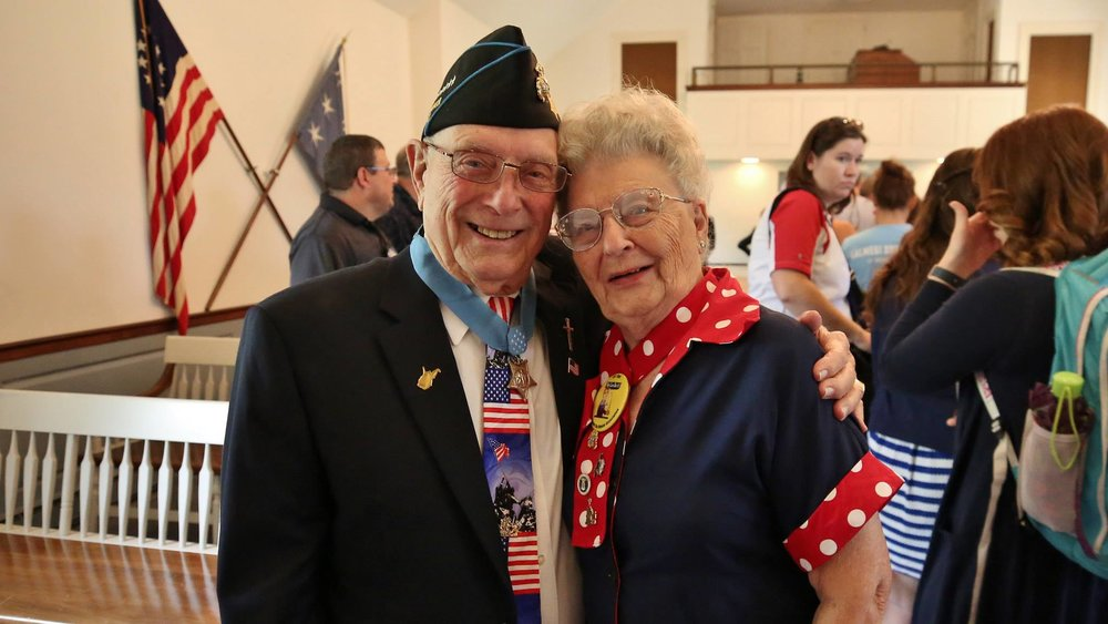 Medal of Honor recipient Woody Williams with Mae Krier. Photo Courtesy of  Freedoms Foundation at Valley Forge .