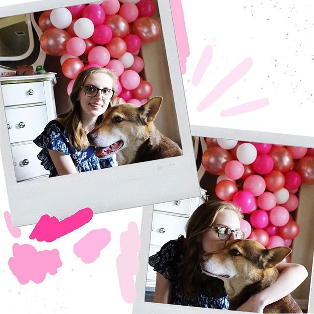 . 💕🐶🐾💖 HAPPY #nationaldogday!! The happiest day of the year, we love our pups so much!! I couldn't do life without my bug, his love is unconditional and I am so lucky. — 💗Playing with a pink color pallet from the my ballon garland at my graduation party!!
