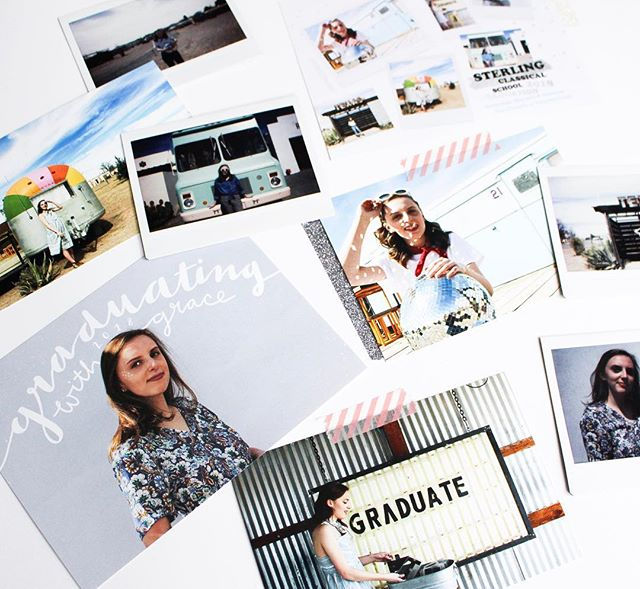 . 🌈💙📸 It's crazy to think around this time last year I was in magical Marfa Texas taking my senior photos. We had a girls trip for a few nights running around the tiny city with polariods, outfit changes, disco balls, and rainbow airstreams. —— I was so happy with the photos and how my graduation card turned out. + lettering all the names/addresses was a fun creative challenge and practice. But seriously this year has gone by SO fast, wowowowow.