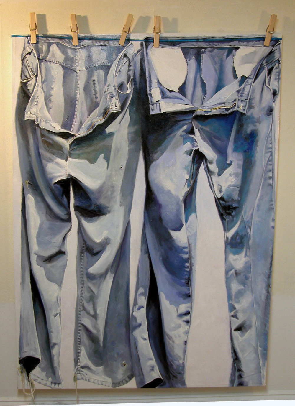 "jeans on the line 60""x48"" (sold)"