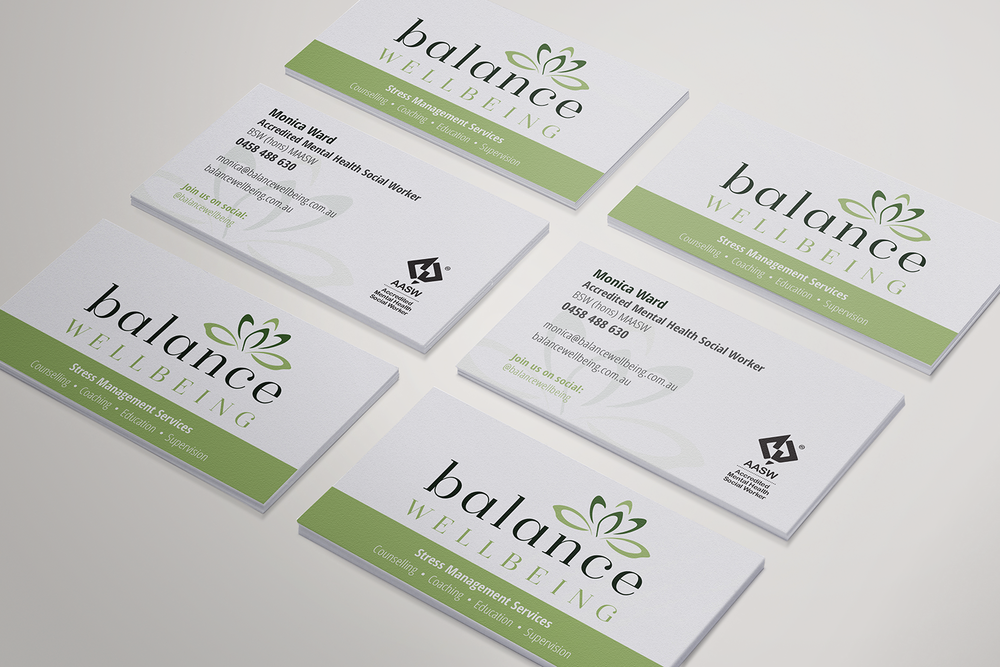Balance Wellbeing business card design, printed business cards.