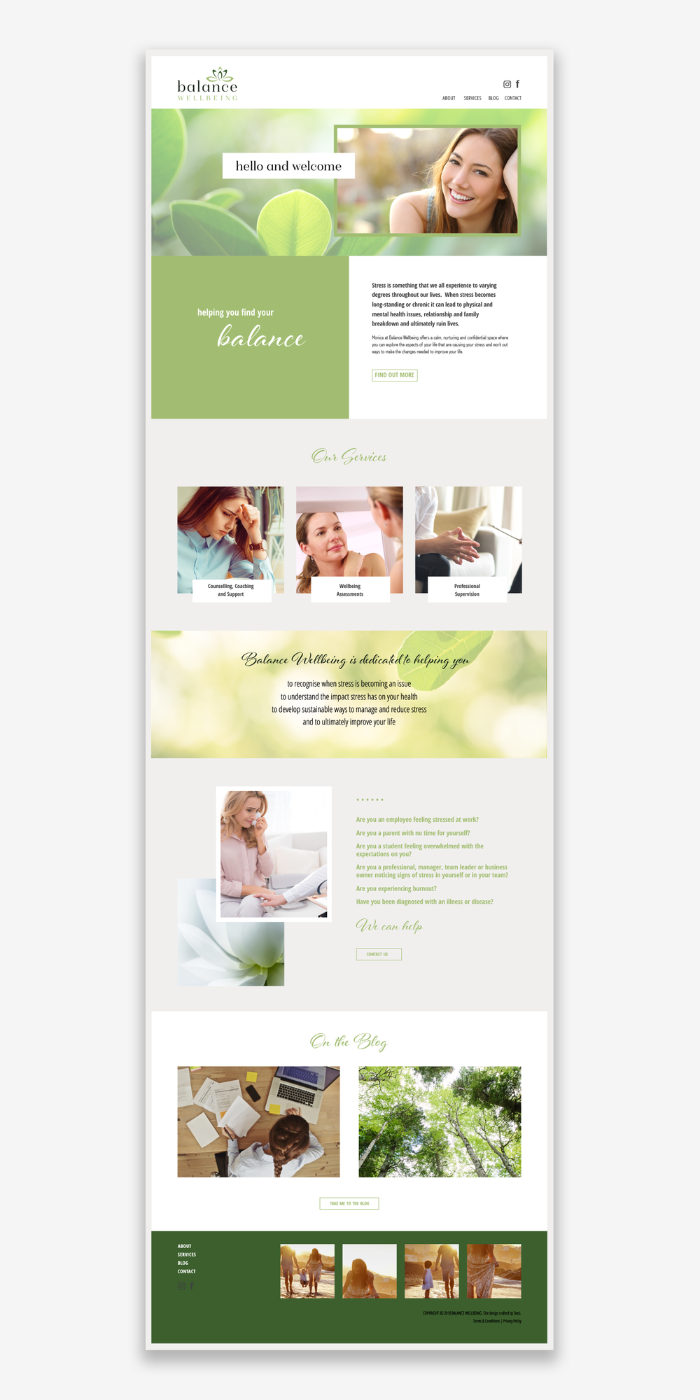 Balance Wellbeing home page template design.