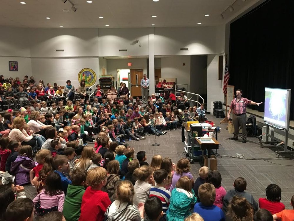Speaking to a group of 150+ children at a elementary school in Western North Carolina.