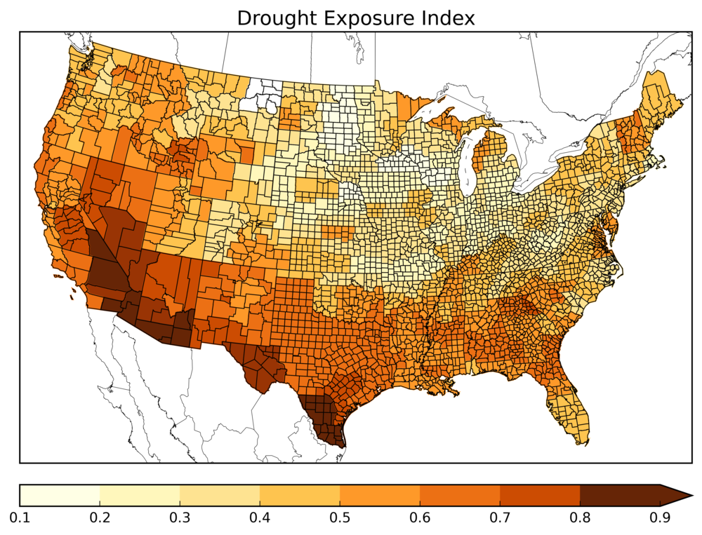 Areas at risk to drought, using the Palmer Drought Severity Index (Citation: Palmer, 1965)
