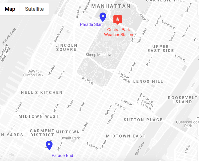 Location of parade start and finish (blue), co-located with the location of the Central Park Weather Station (Red)