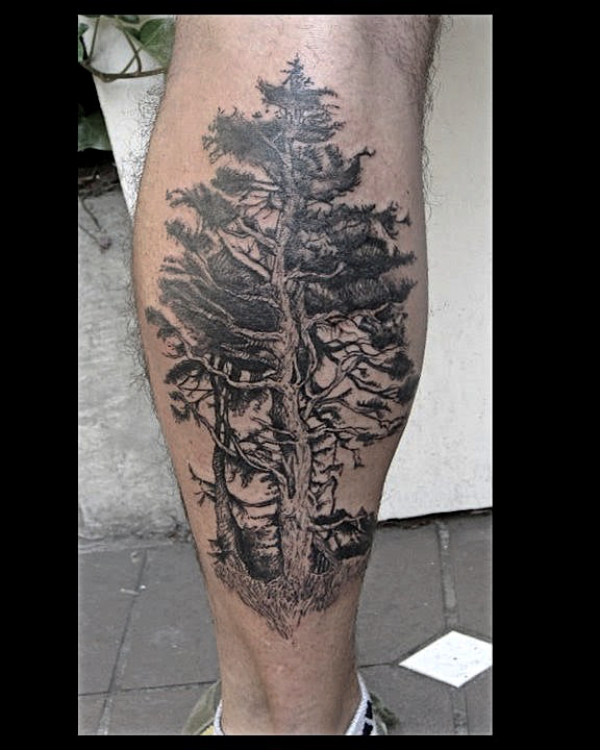 old tree tattoo on calf.jpg
