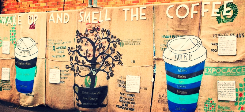 wake up and smell the coffee mural
