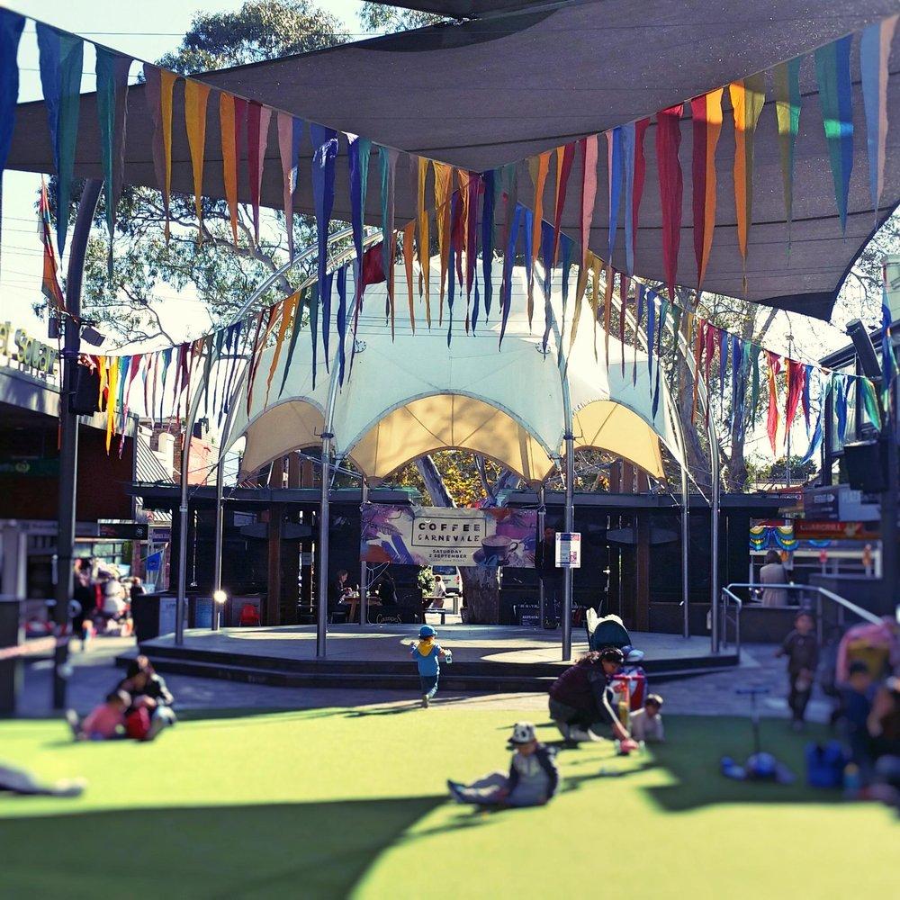 Rainbow triangle bunt installation