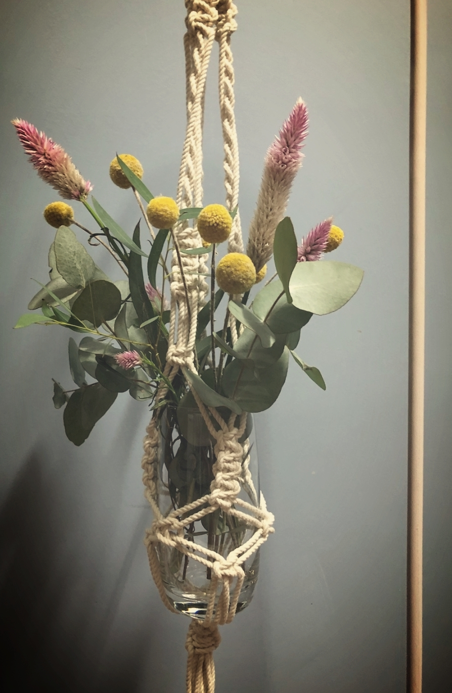 Macrame vase holders on white shepards hooks - in or above ground available