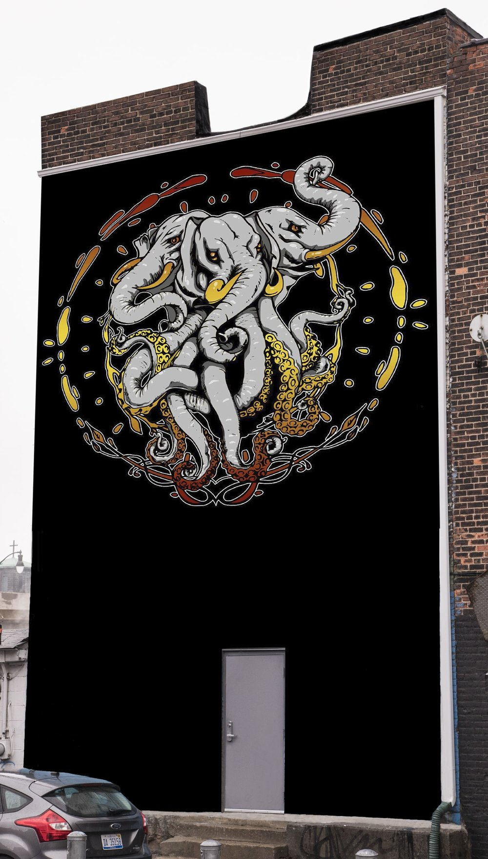A digital rendering of the mural after it is installed at The Elephant Room. Larry Pepin for Crain's
