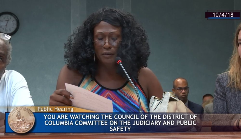 Tamika Spellman testifying at a public hearing at the Committee on the Judiciary and Public Safety at the DC Council (2018)