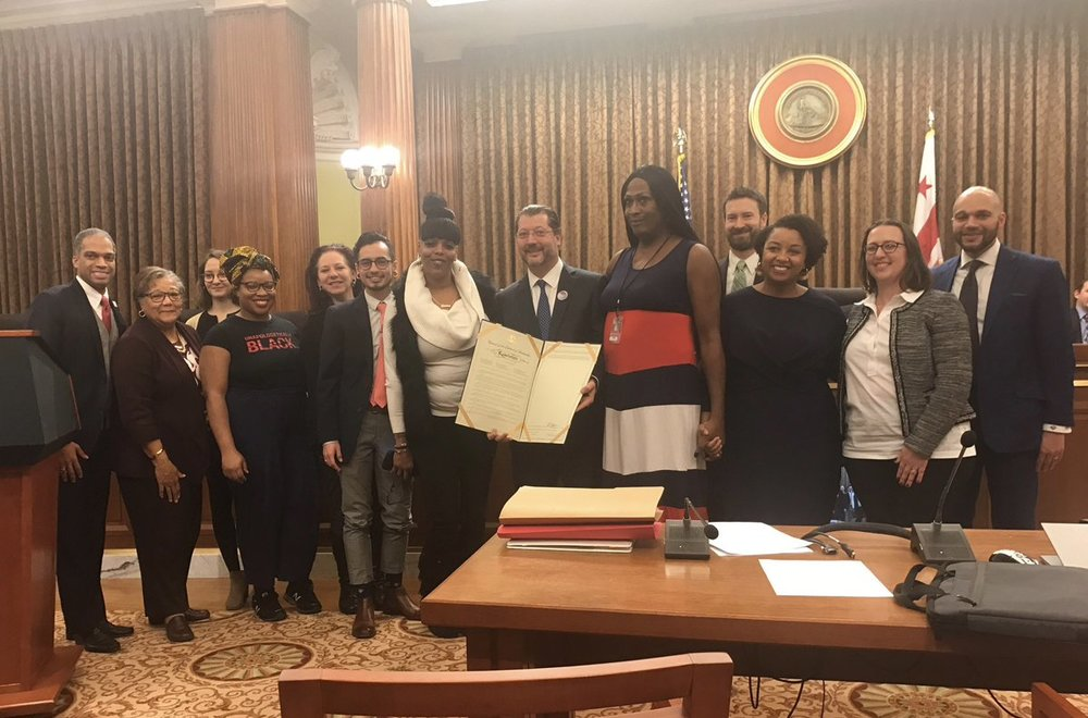 Tamika and members of the Sex Workers Advocates Coalition with Councilmember David Grosso as he presented a resolution recognizing International Day to End Violence Against Sex Workers at DC Council (December 18, 2018)