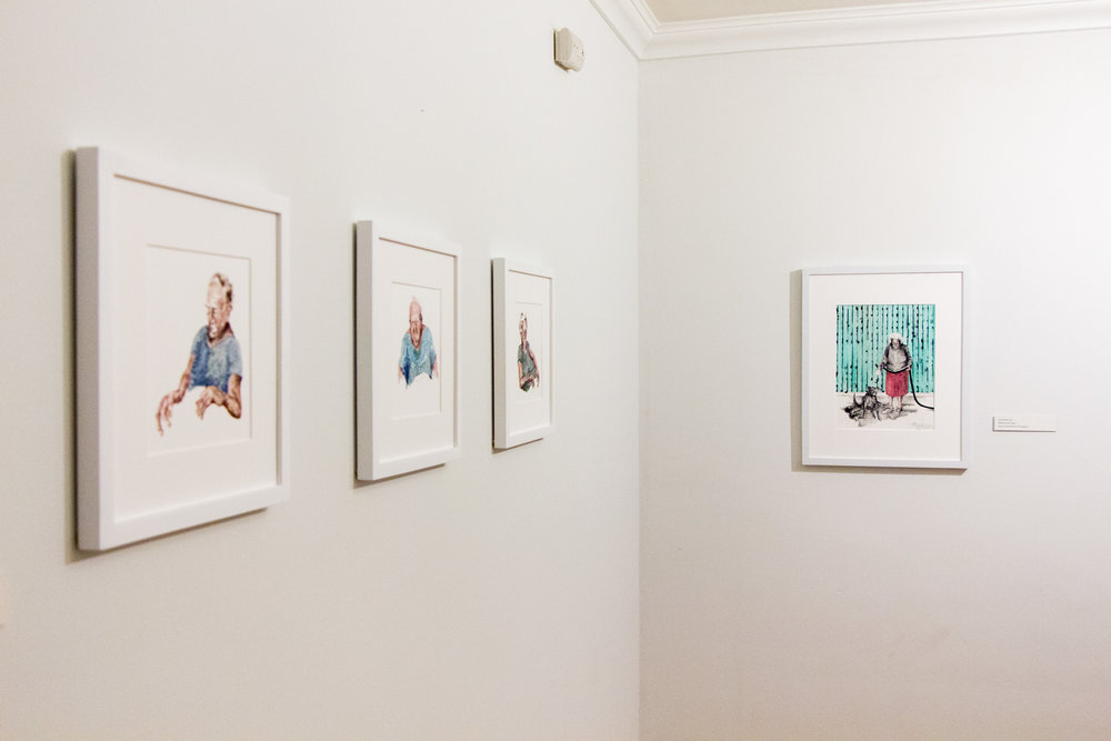 Installation Shot ,  Samantha Case  Gouche on Yupo Paper and Colored Lithograph
