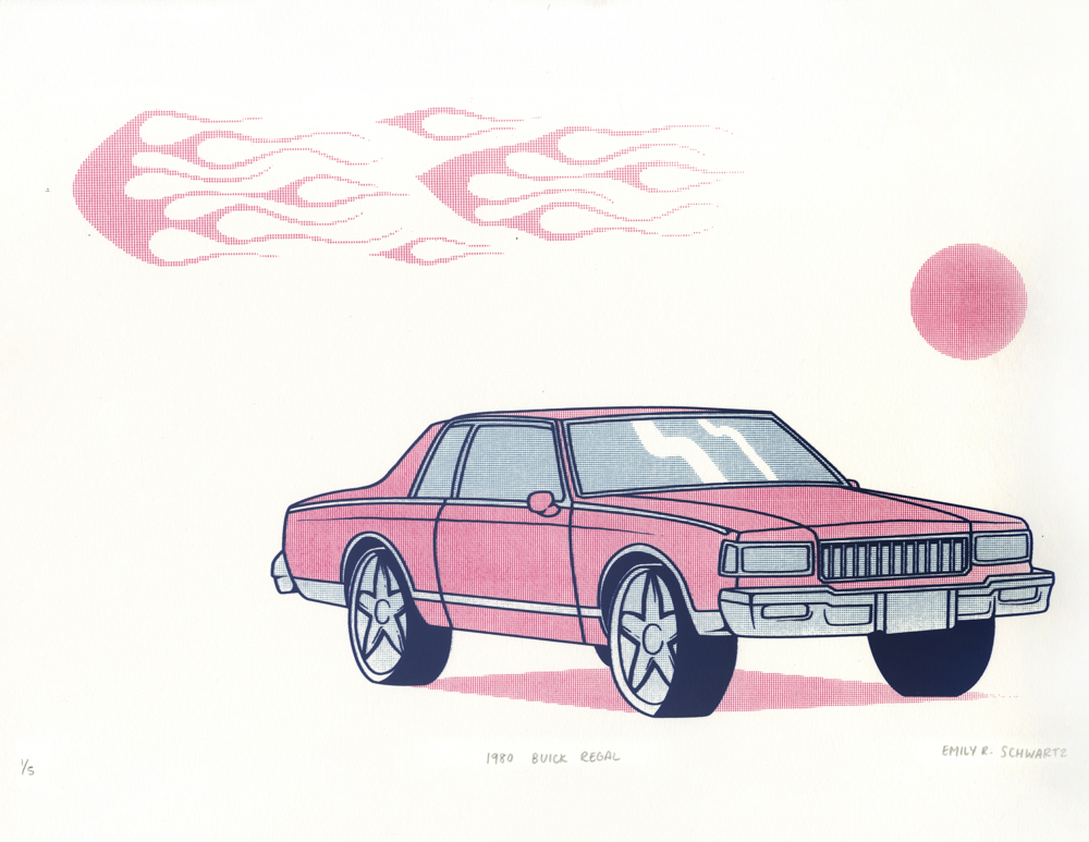 1980 Buick Regal     Three-layer screenprint on paper