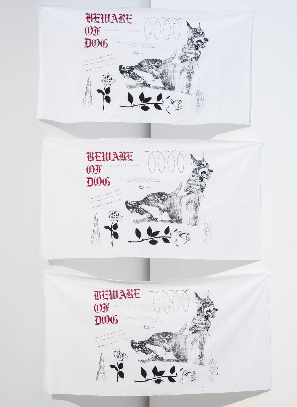 Beware of Dog     Two-layer screenprint on fabric