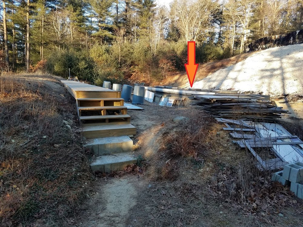 """1/12/19: The """"Pit"""" is located behind the berm under the arrow."""