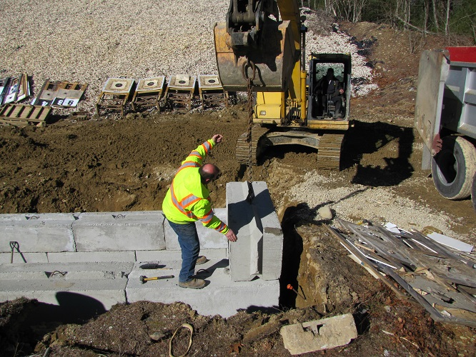 Due to the weight and interlocking features, these blocks should be resistant to the effects of the earth back fill.
