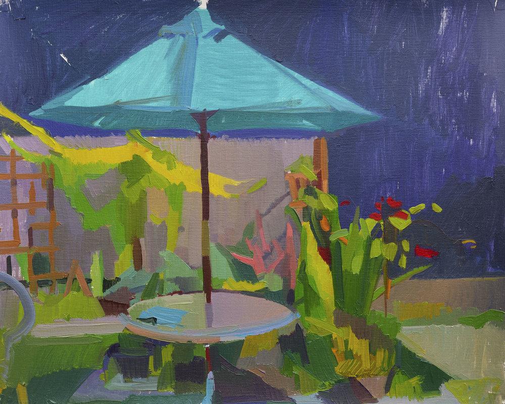 Turquoise Umbrella, Oil on Paper, 2017