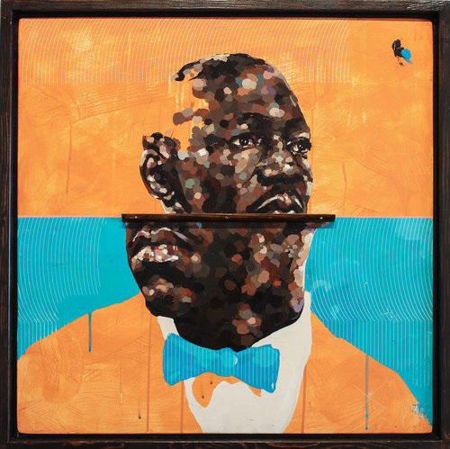 Messenger (For Art Blakey)  , acrylic, screen print, & found wood on panel, 2018