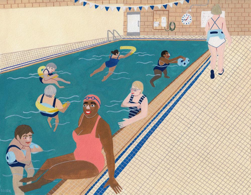 Deep-Water Ladies  , gouache + pencil on paper, 2016