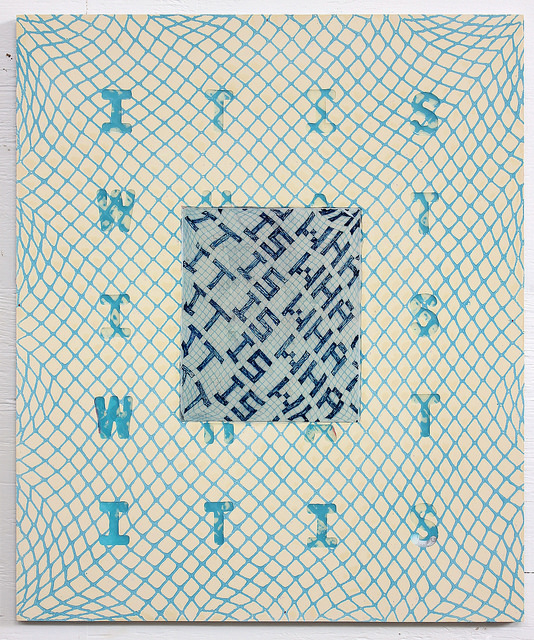 IT IS WHAT IT IS  , Resin, net, and drawing on ACM panel, 2018