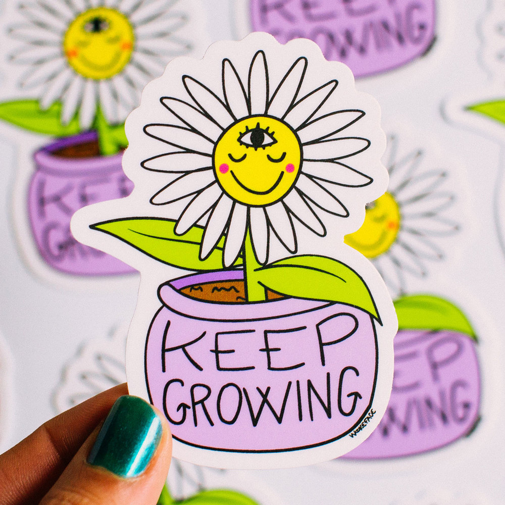 Keep Growing Flower Sticker  , die-cut matte vinyl sticker