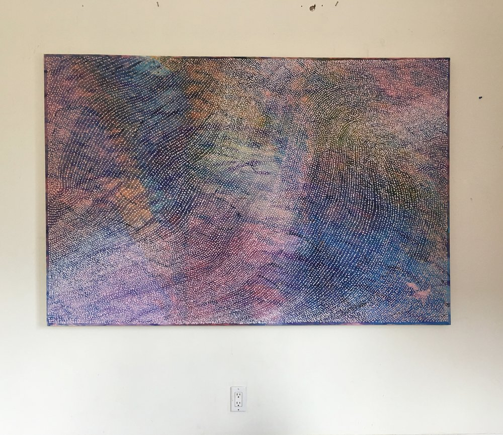 Ssssounds  , acrylic, pumice, and dye on canvas, 2019