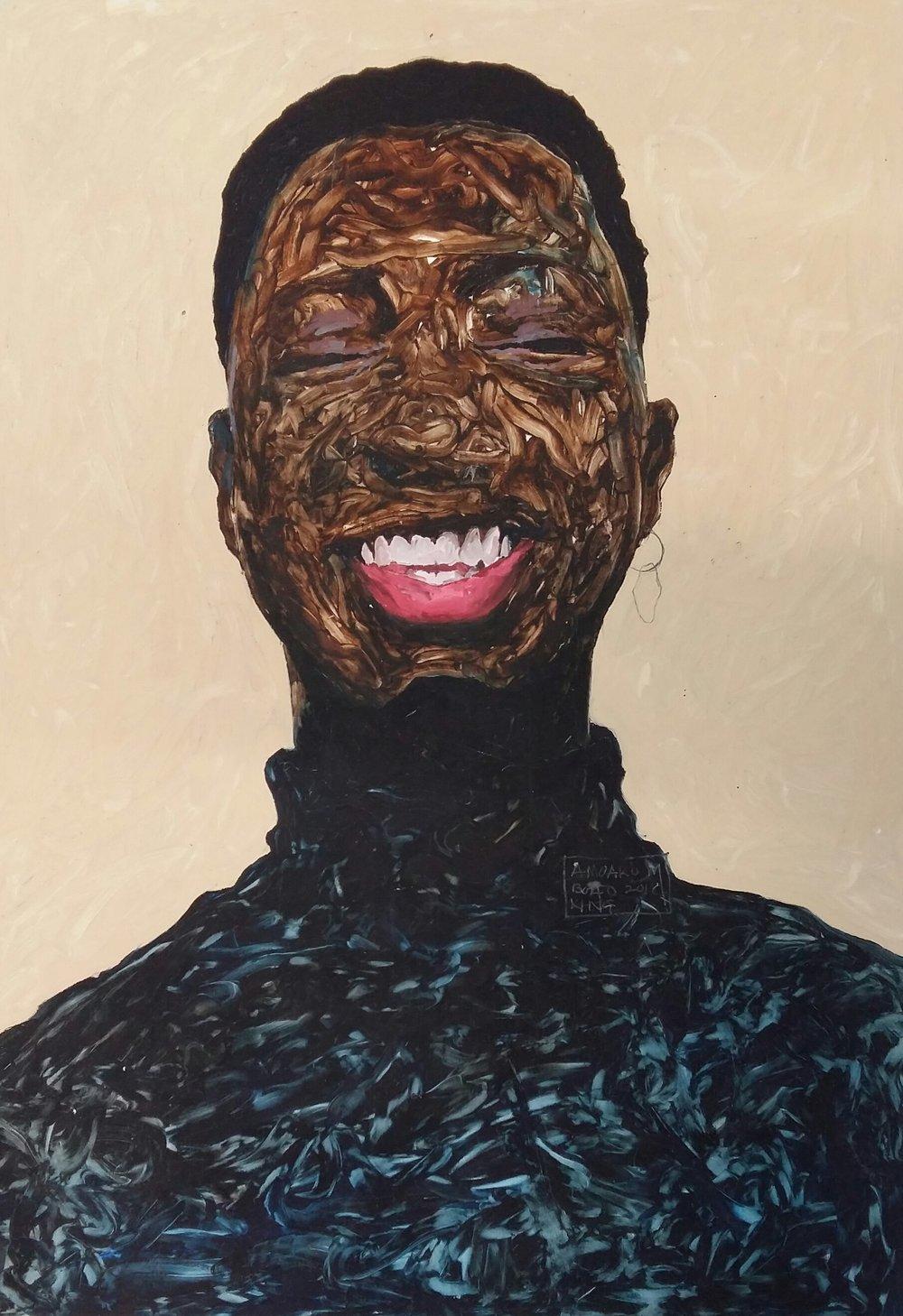 Noir  , oil on paper, 2018
