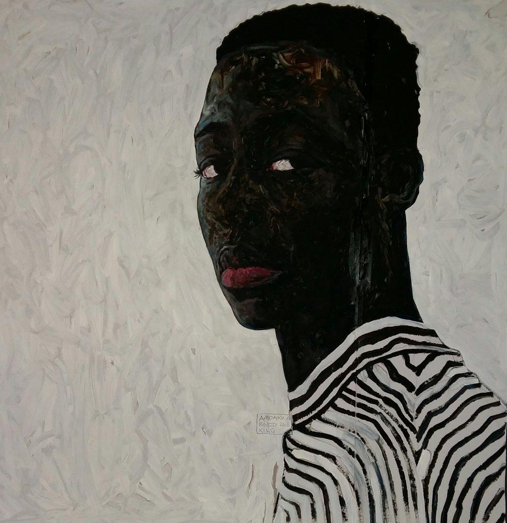 Black and White Stripes  , oil on paper, 2018