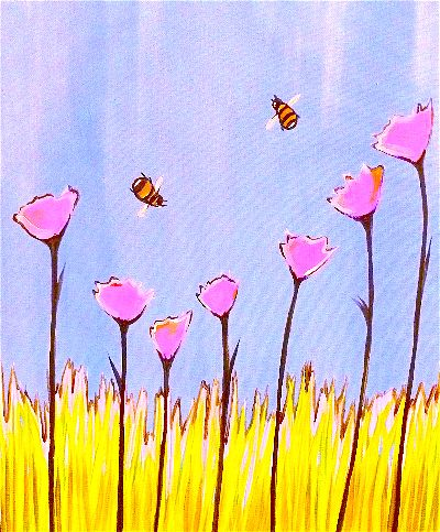 Violet Flowers and Yellow Bees-opt.jpg