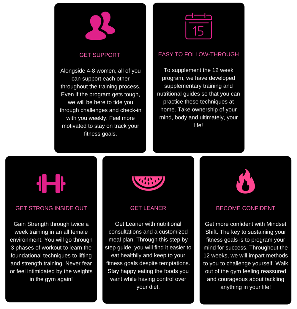 GET STRONG INSIDE OUTGain Strength through twice a week training in an all female environment. You will go through 3 phases of workout to learn the foundational techniques to lifting and strength training. Never fear.png