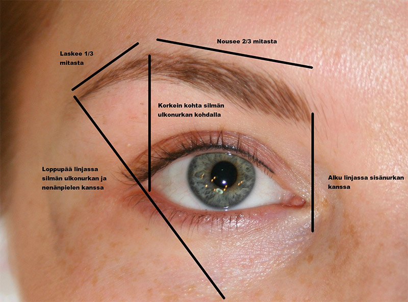 Täydellinen kulmien muoto. Kuvassa tekemäni kulmakarva- ja silmänrajauspigmentointi parantuneena ennen jälkipigmentointia.