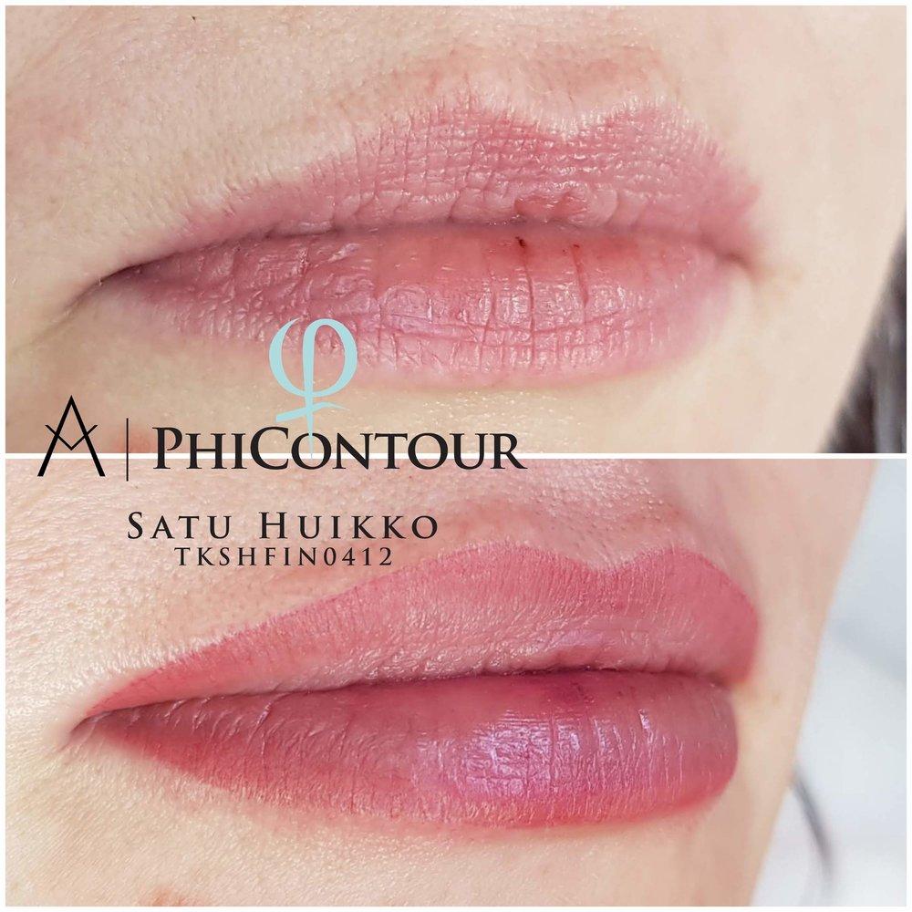 Huulten pigmentointi ombre- eli häivytystekniikalla. Kuva on otettu heti ensimmäisen käsittelyn jälkeen.