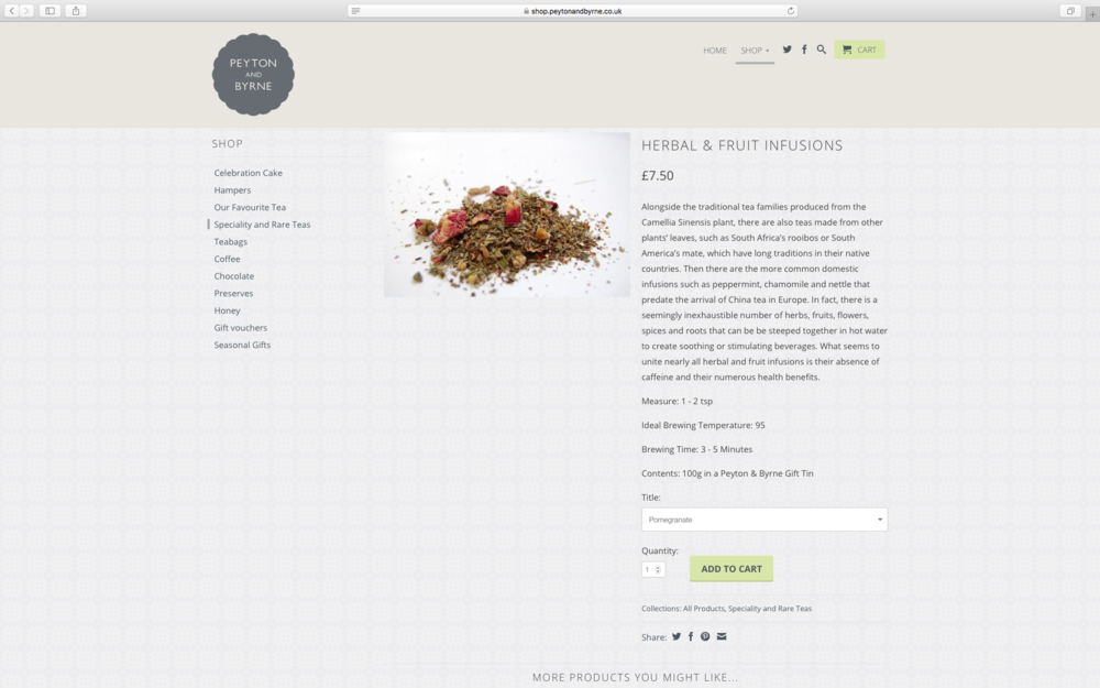 Speciality/herbal tea intro copy for online ship
