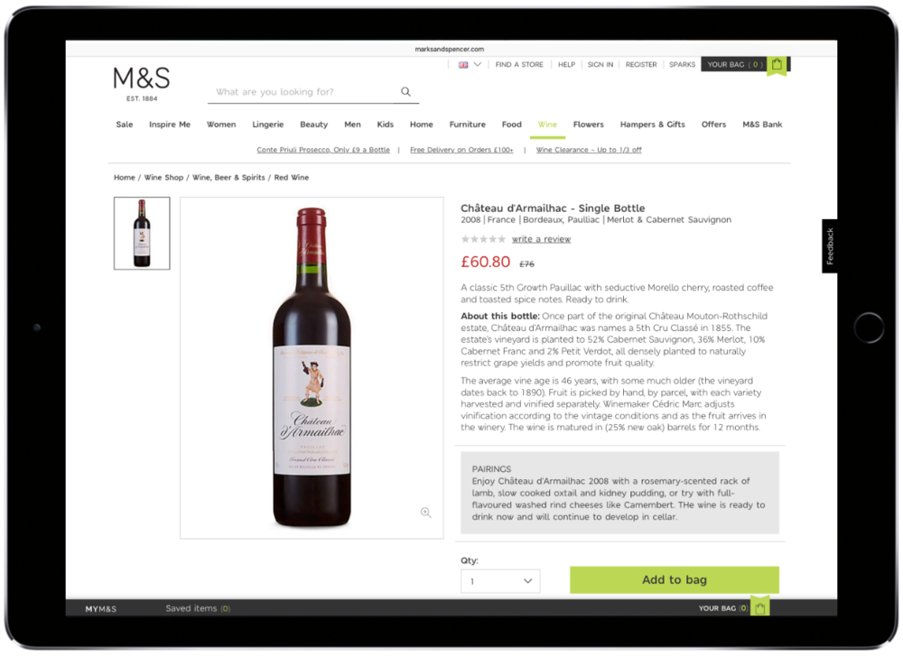 M&S wine copywriter