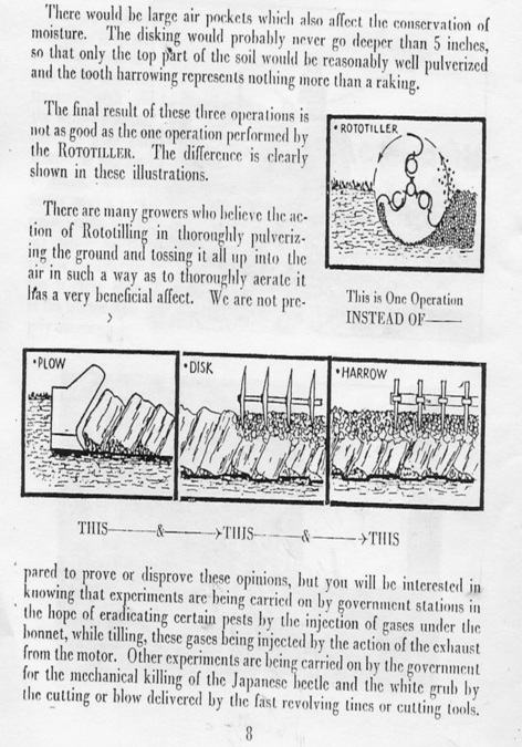 """""""One operation instead of three"""" was the principle reason behind Kelsey's interest in rotary tillage. This graphic was included in Kelseys' paper delivered to the American Society ofAgricultural Engineers in Chicago in 1933."""