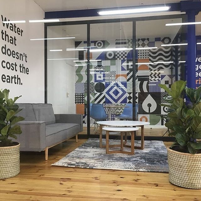 A glimpse at the showroom branding and interior we conceptualised for @idropwater and @bluewaterafrica. Shoutout to @jessejamesdesign for bringing it all to life. 📷 by @jessejamesdesign