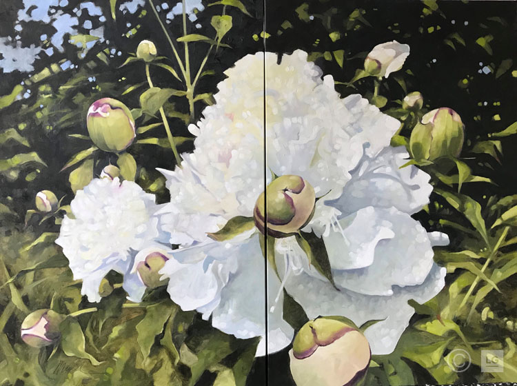 Double Peonies- Diptych