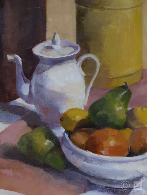 White Teapot with Fruit Bowl