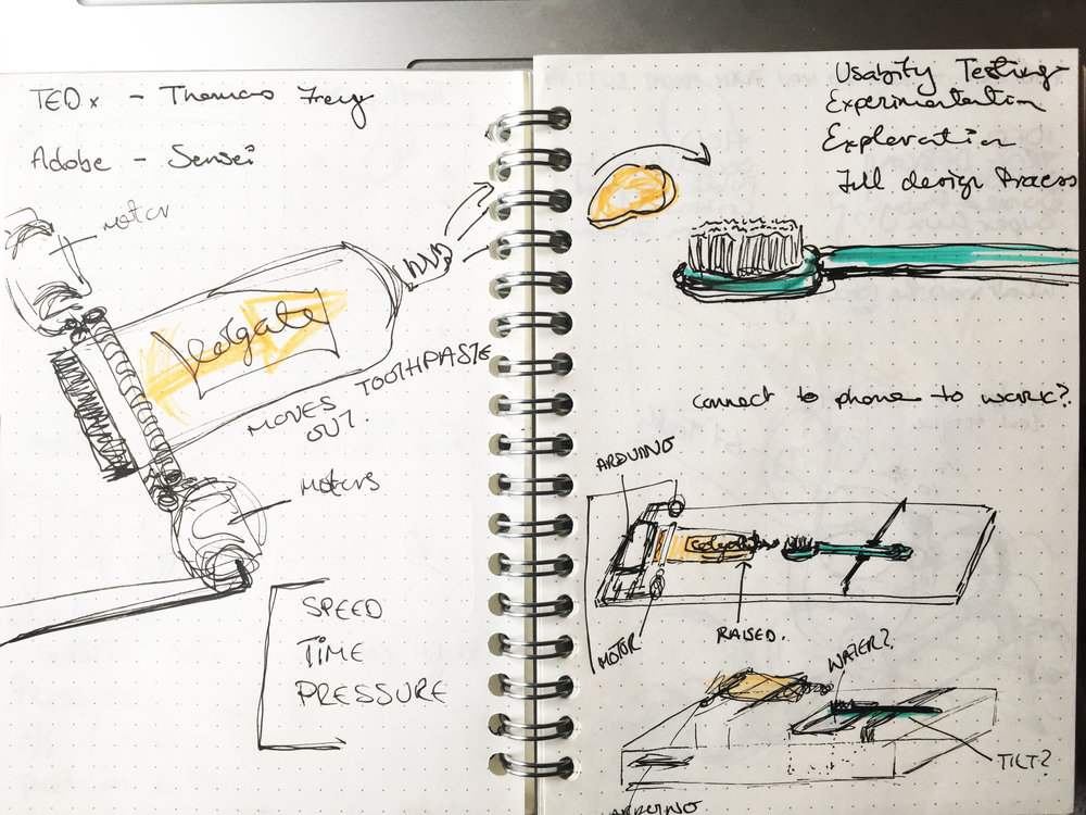 Notebook sketches of possible functionality and aesthetics