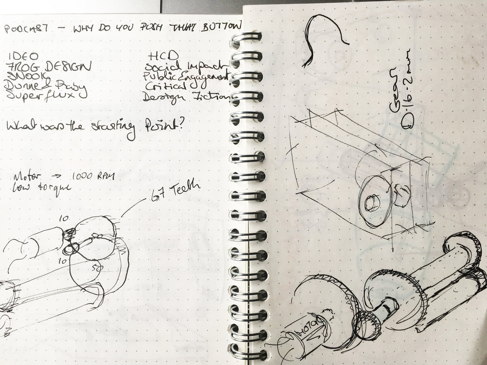 Notebook sketches of different cog assemblies